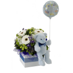 GF05 - Flowers, Teddy and Baby Boy Balloon - $85.00 to $110.00