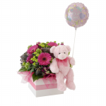 GF06 - Flowers, Teddy and Baby Girl Balloon - $85.00 to $110.00