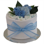 GF08 - Single Nappy Cake with Sock Roses Baby Boy - $65.00