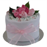 GF09 - Single Nappy Cake with Sock Roses Baby Girl - $65.00